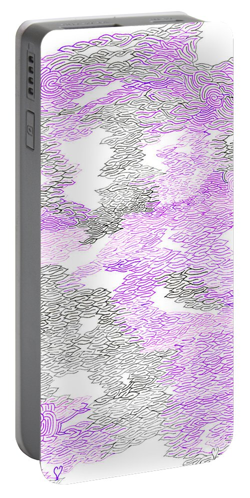 Mazes Portable Battery Charger featuring the drawing Study Purple And Gray by Steven Natanson