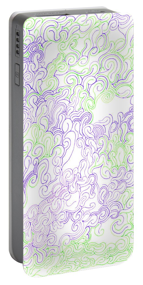 Mazes Portable Battery Charger featuring the drawing Study Purple And Green by Steven Natanson