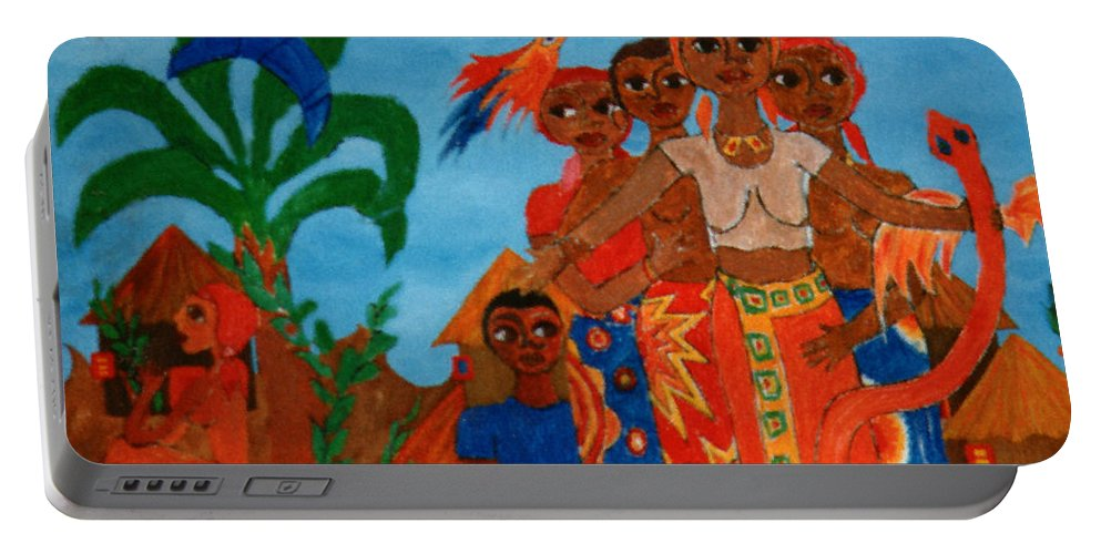 Study Portable Battery Charger featuring the painting Study To Motherland A Place Of Exile by Madalena Lobao-Tello