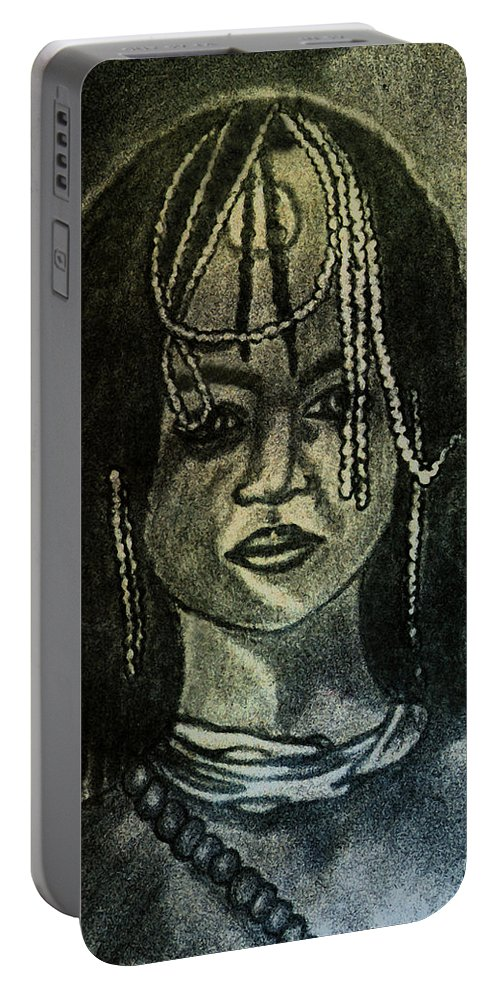 Study Portable Battery Charger featuring the painting Study To Of Another Childhood I Keep Memories by Madalena Lobao-Tello