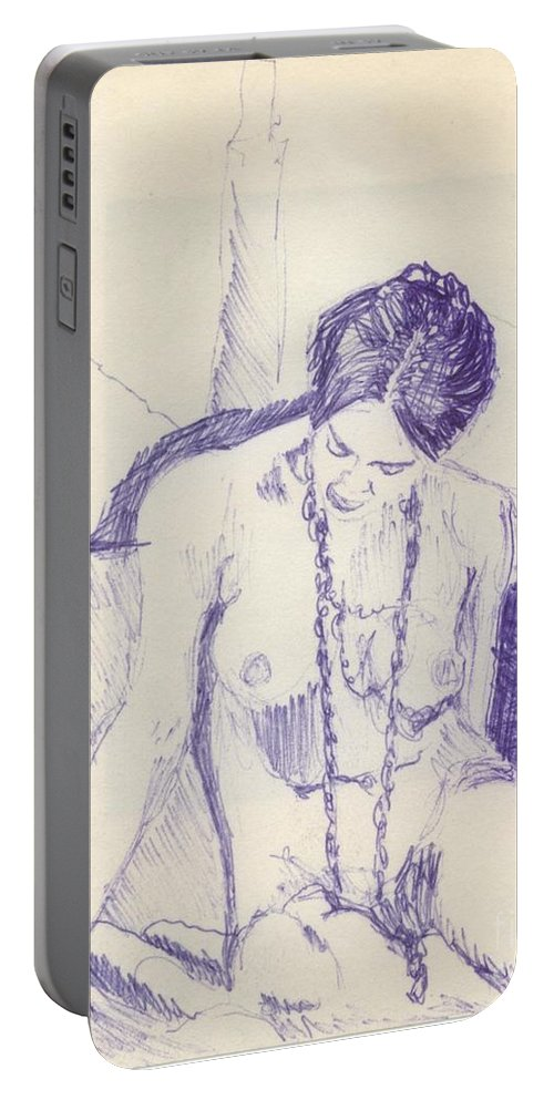 Ink Sketch Portable Battery Charger featuring the drawing Studying For Exams by Ron Bissett
