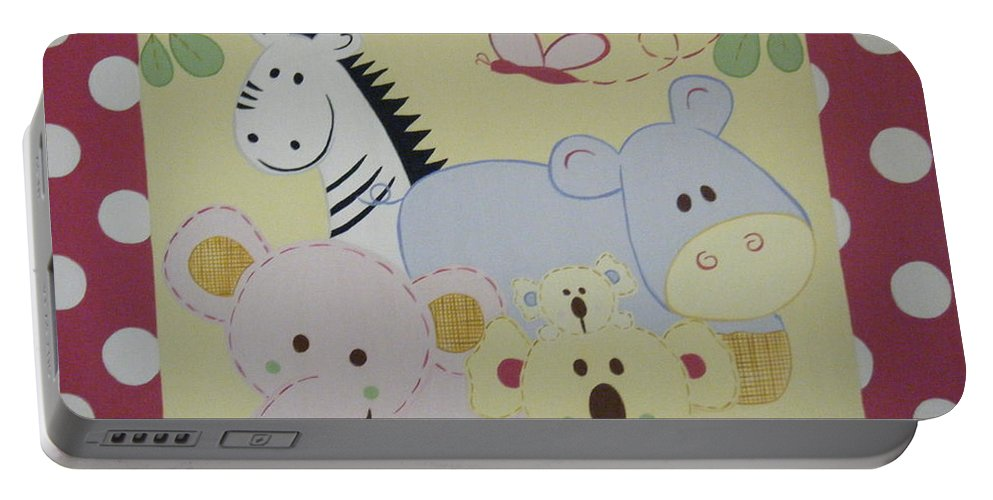 Hippo Portable Battery Charger featuring the painting Stuffed Animals by Valerie Carpenter