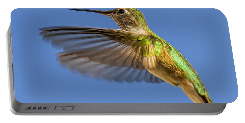 Animals Portable Battery Charger featuring the photograph Stylized Hummingbird In Hover by Rikk Flohr