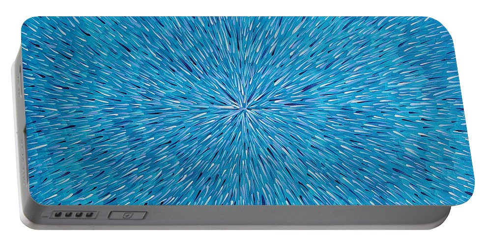 Abstract Portable Battery Charger featuring the painting Su Gaia Rain by Dean Triolo