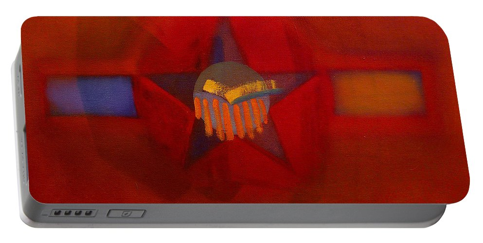Warm Portable Battery Charger featuring the painting Sub Decal by Charles Stuart