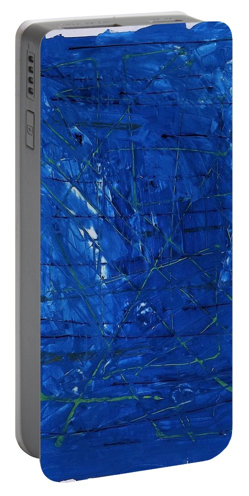 Abstract Art Portable Battery Charger featuring the painting Subatomic Particles In Blue State by John Dossman