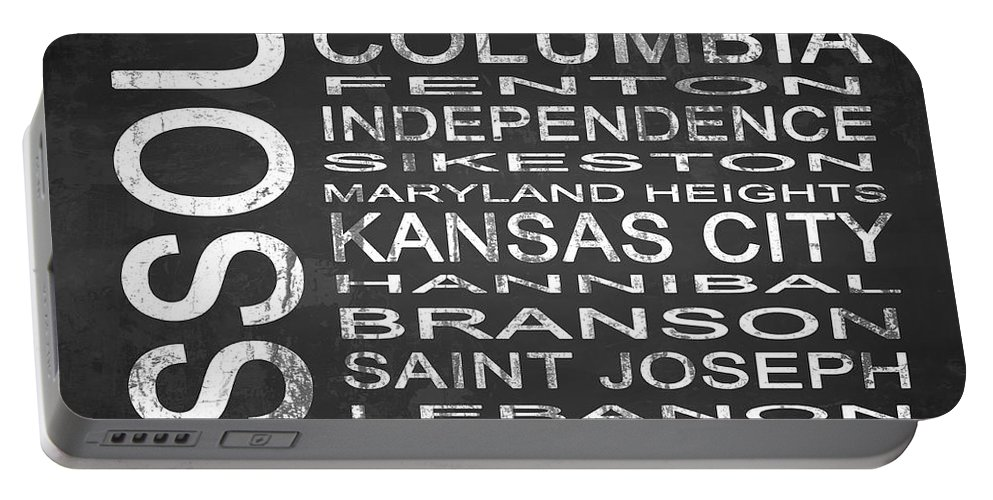 Subway Sign Portable Battery Charger featuring the digital art Subway Missouri State Square by Melissa Smith