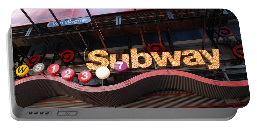Neon Portable Battery Charger featuring the photograph Subway by Rob Hans