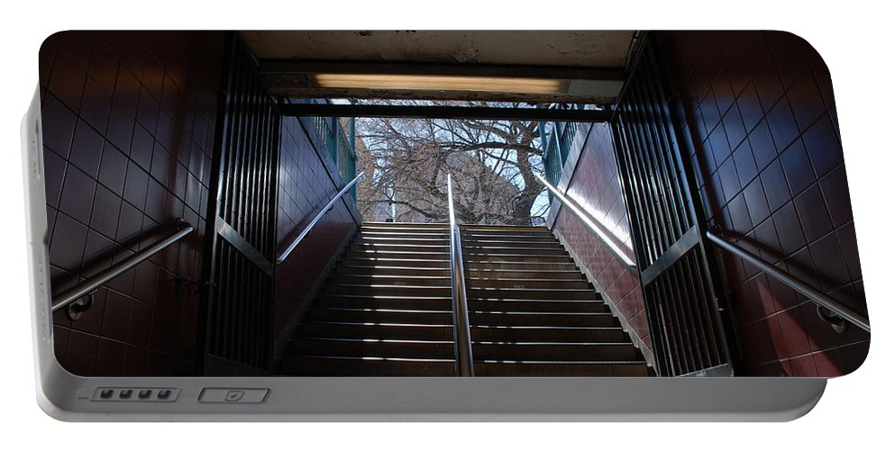 Pop Art Portable Battery Charger featuring the photograph Subway Stairs To Freedom by Rob Hans