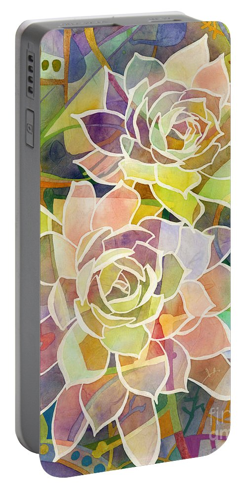 Succulent Portable Battery Charger featuring the painting Succulent Mirage 2 by Hailey E Herrera