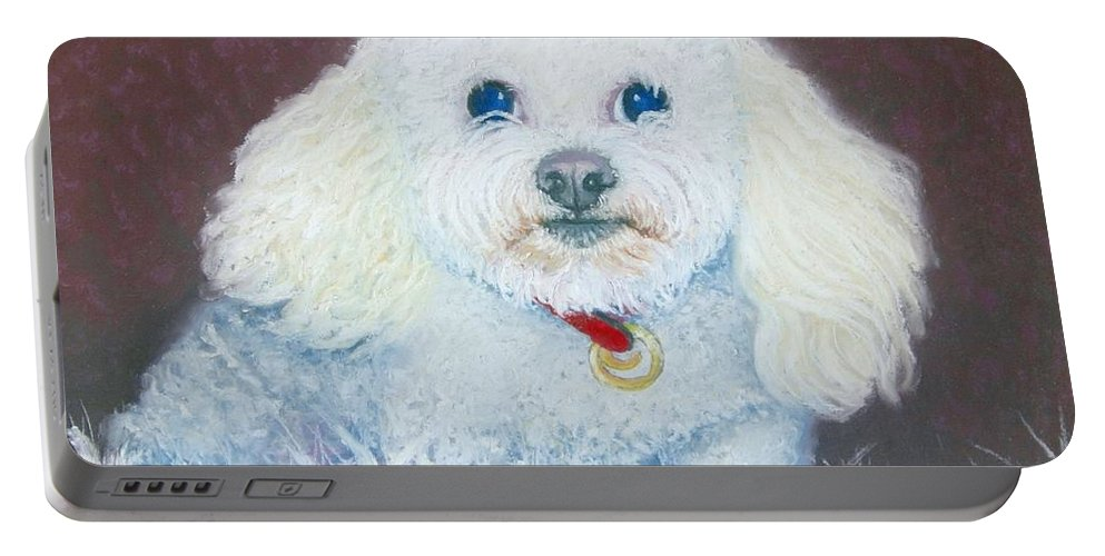 Dog Portable Battery Charger featuring the painting Such A Charm by Minaz Jantz