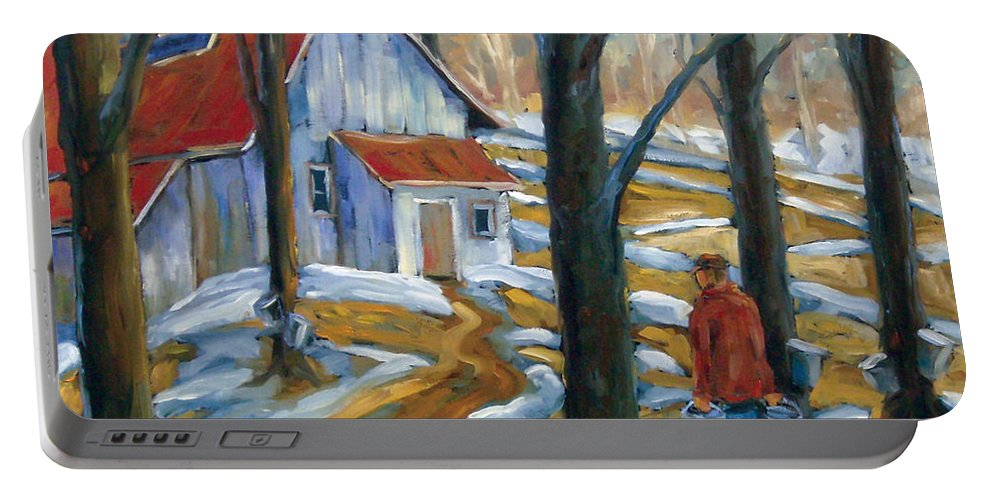 Suga Portable Battery Charger featuring the painting Sugar Bush by Richard T Pranke