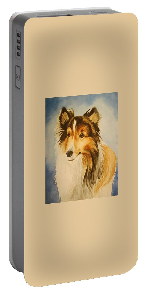Sheltie Portable Battery Charger featuring the painting Sugar by Marilyn Jacobson