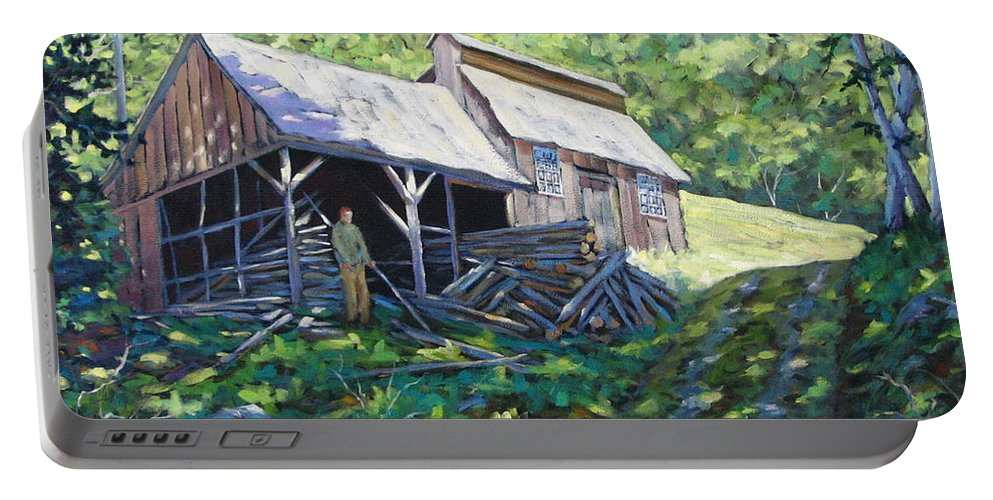 Sugar Shack Portable Battery Charger featuring the painting Sugar Shack in July by Richard T Pranke