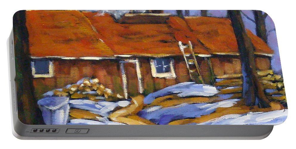 Sugar Shack Portable Battery Charger featuring the painting Sugar Time by Richard T Pranke