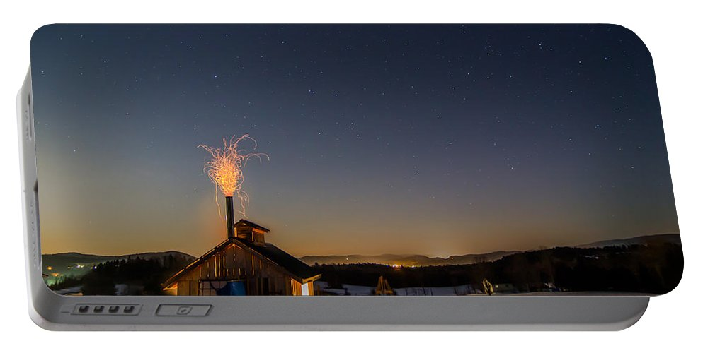 Vermont Portable Battery Charger featuring the photograph Sugaring View With Stars by Tim Kirchoff