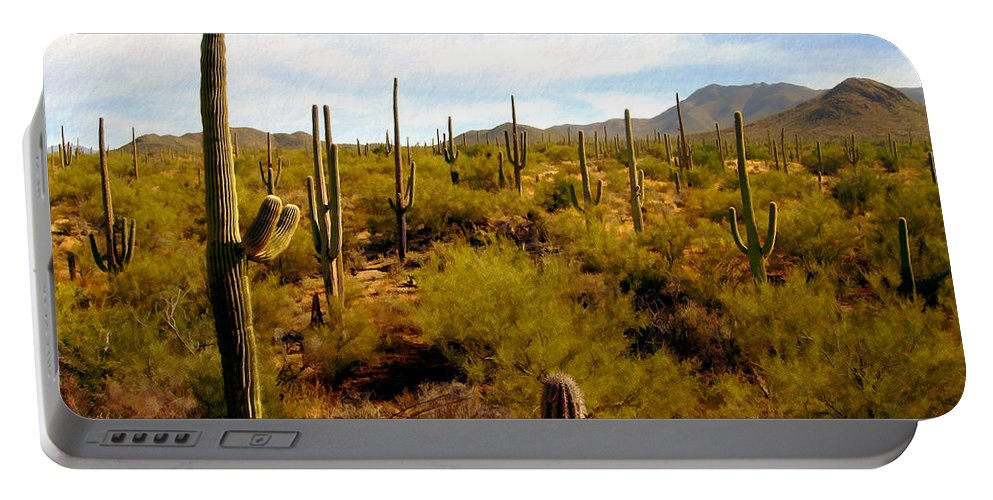 Suguaro Cactus Portable Battery Charger featuring the photograph Suguro National Park by Kurt Van Wagner