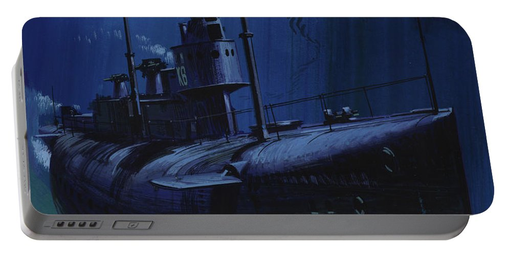 Submarine Portable Battery Charger featuring the painting Suicide Subs by Wilf Hardy