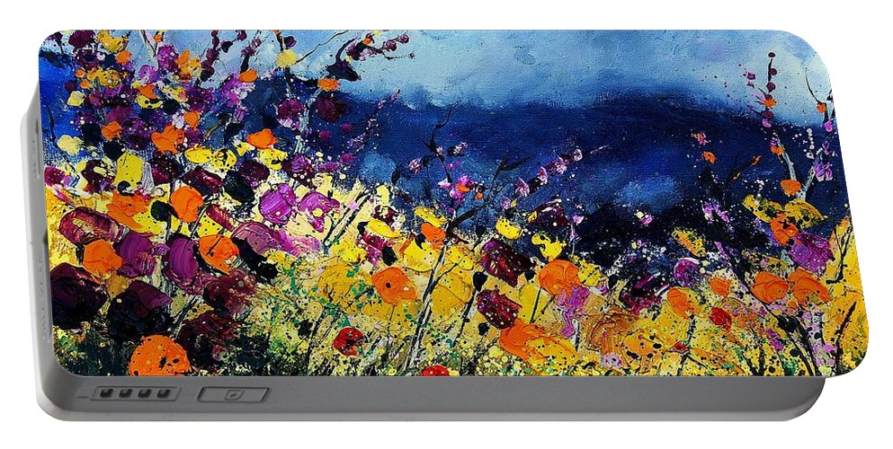 Poppy Portable Battery Charger featuring the painting Summer 45 by Pol Ledent