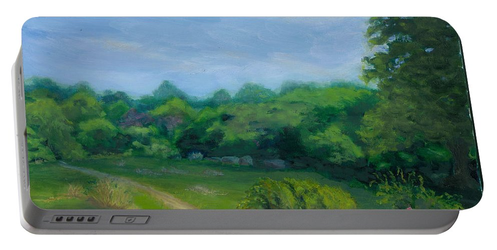 Landscape Portable Battery Charger featuring the painting Summer Afternoon At Ashlawn Farm by Paula Emery