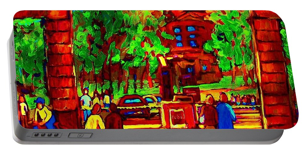 Mcgill University Portable Battery Charger featuring the painting Summer At Mcgill University by Carole Spandau