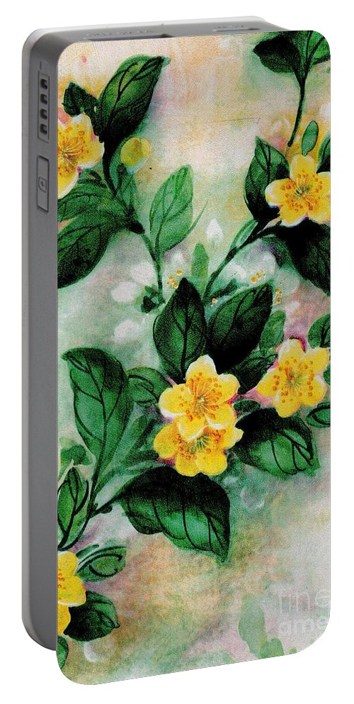 Yellow Portable Battery Charger featuring the painting Summer Blooms by Writermore Arts