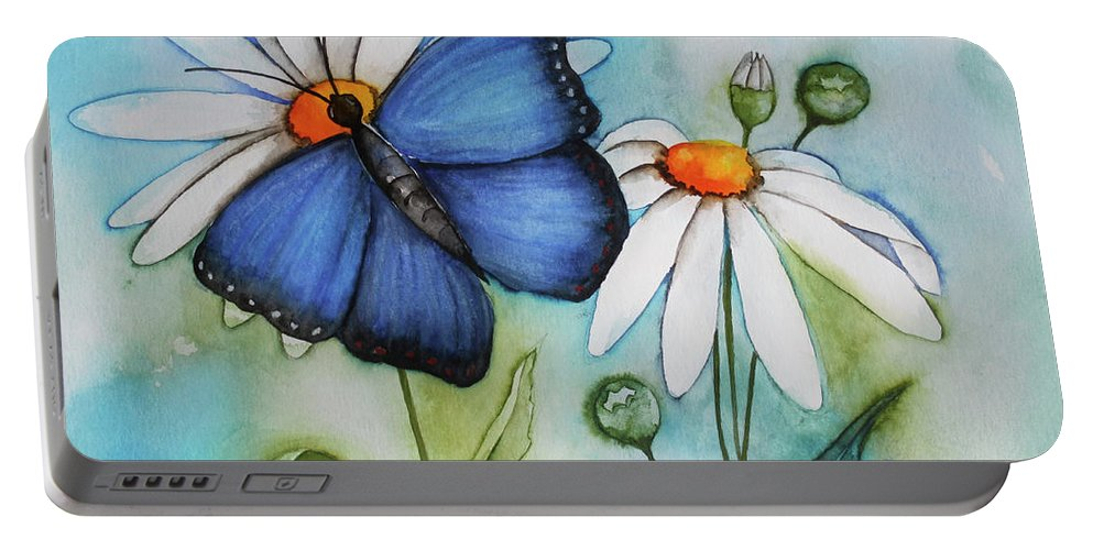 Painting Portable Battery Charger featuring the painting Summer Blue by Jutta Maria Pusl