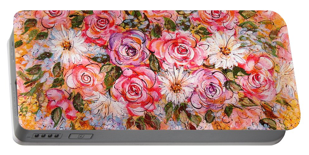 Flowers Portable Battery Charger featuring the painting Summer Bouquet by Natalie Holland