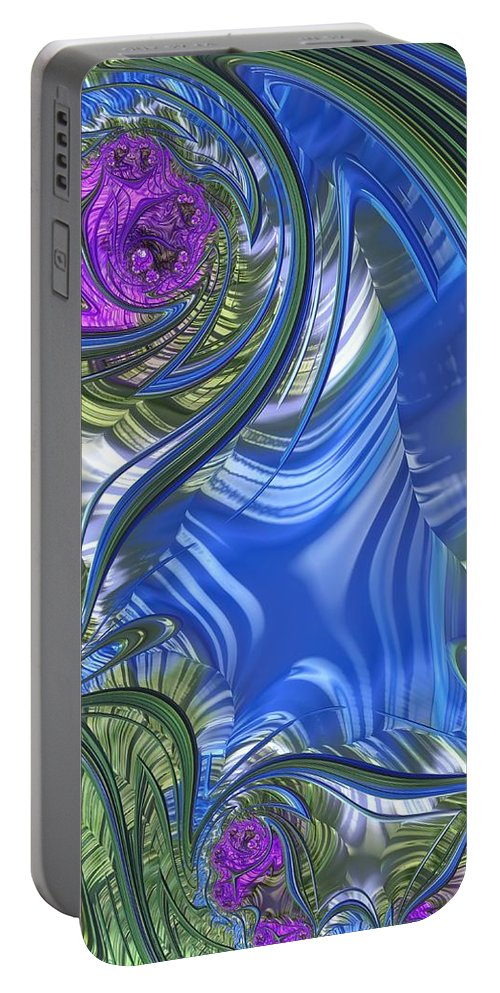 Scarf Portable Battery Charger featuring the digital art Summer Bouquet Rendition 3 by Diane Lindon Coy