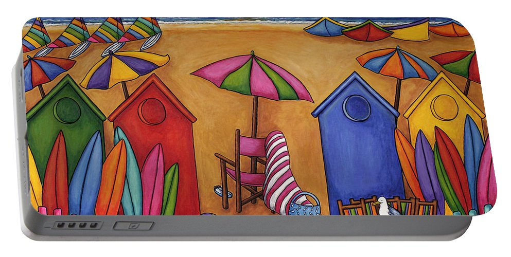 Summer Portable Battery Charger featuring the painting Summer Delight by Lisa Lorenz