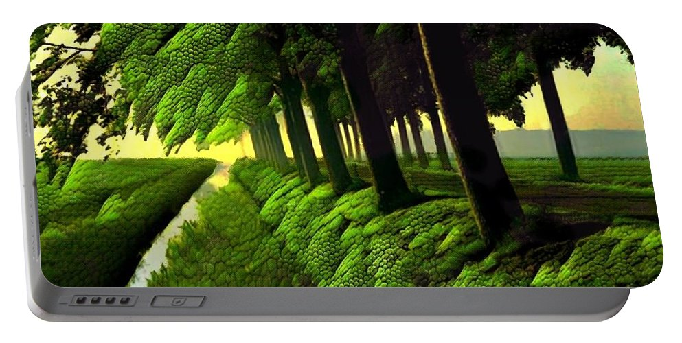 Trees Portable Battery Charger featuring the digital art Summer Evening Streaming by Ellen Cannon