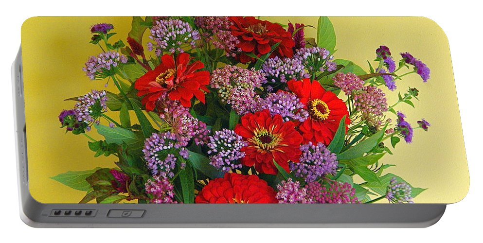 Still Life Portable Battery Charger featuring the photograph Summer Flower Bouquet by Byron Varvarigos
