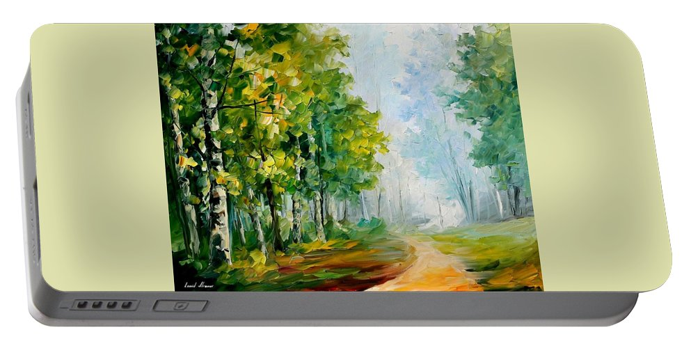 Afremov Portable Battery Charger featuring the painting Summer Forest by Leonid Afremov