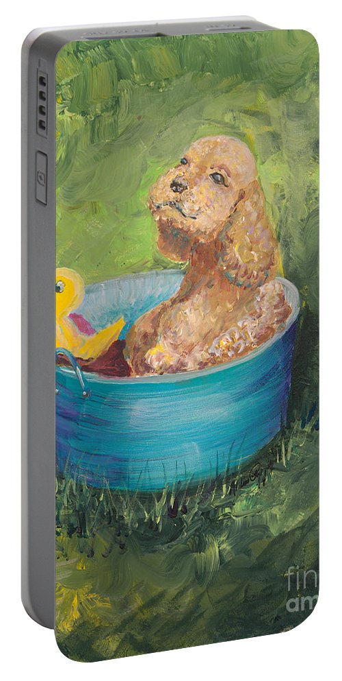 Dog Portable Battery Charger featuring the painting Summer Fun by Nadine Rippelmeyer