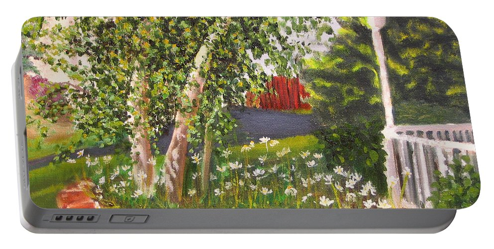 Daisies Portable Battery Charger featuring the painting Summer Garden by Lea Novak