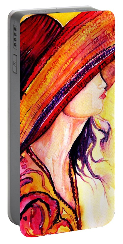 Elegant Lady Portable Battery Charger featuring the painting Summer Hat by Carole Spandau