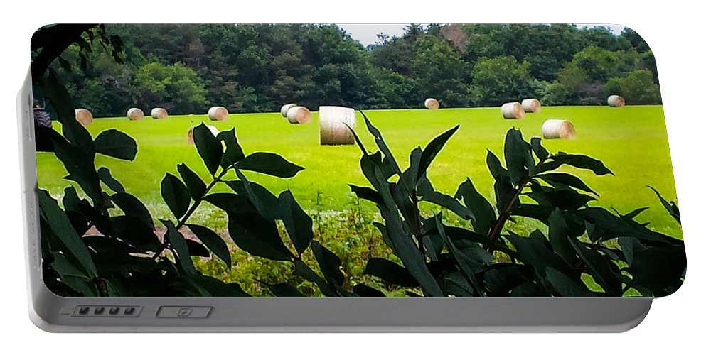 Summer Portable Battery Charger featuring the photograph Summer Hay by Jennifer Kohler