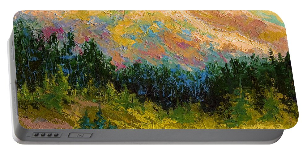 Alaska Portable Battery Charger featuring the painting Summer High Country by Marion Rose