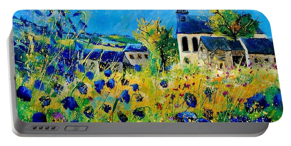 Poppies Portable Battery Charger featuring the painting Summer In Foy Notre Dame by Pol Ledent