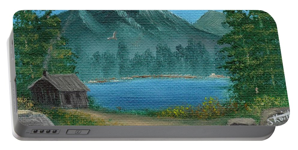 Landscape Portable Battery Charger featuring the painting Summer In The Mountains by Sheri Keith