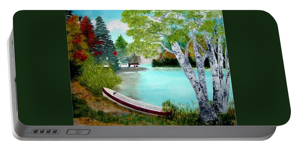 Beautiful Bracebridge Ontario Oil Painting Portable Battery Charger featuring the painting Summer In The Muskoka's by Peggy Holcroft