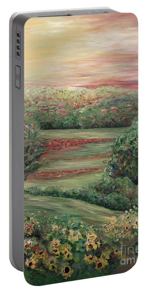 Landscape Portable Battery Charger featuring the painting Summer In Tuscany by Nadine Rippelmeyer