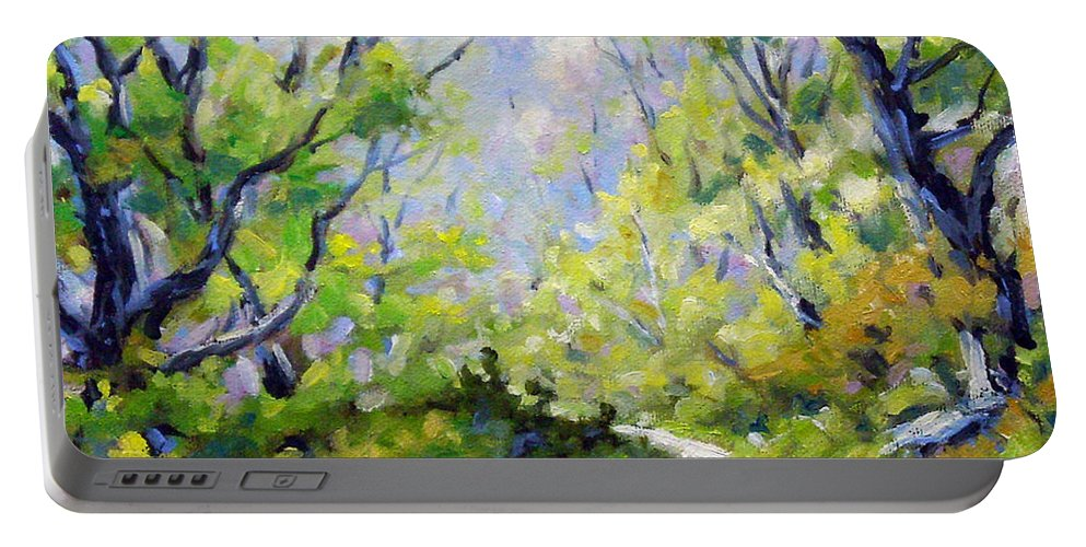 Art Portable Battery Charger featuring the painting Summer Lights by Richard T Pranke