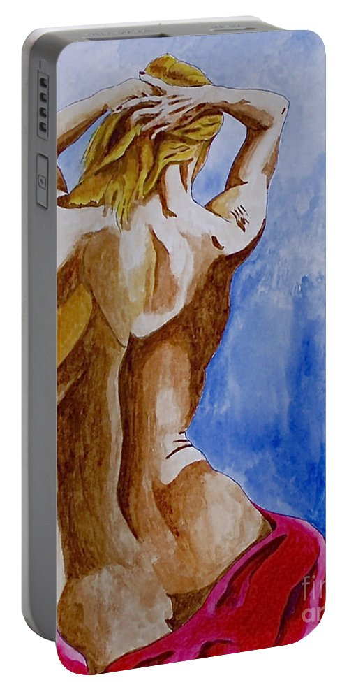 Nude By Herschel Fall Very Hot Nude Portable Battery Charger featuring the painting Summer Morning by Herschel Fall