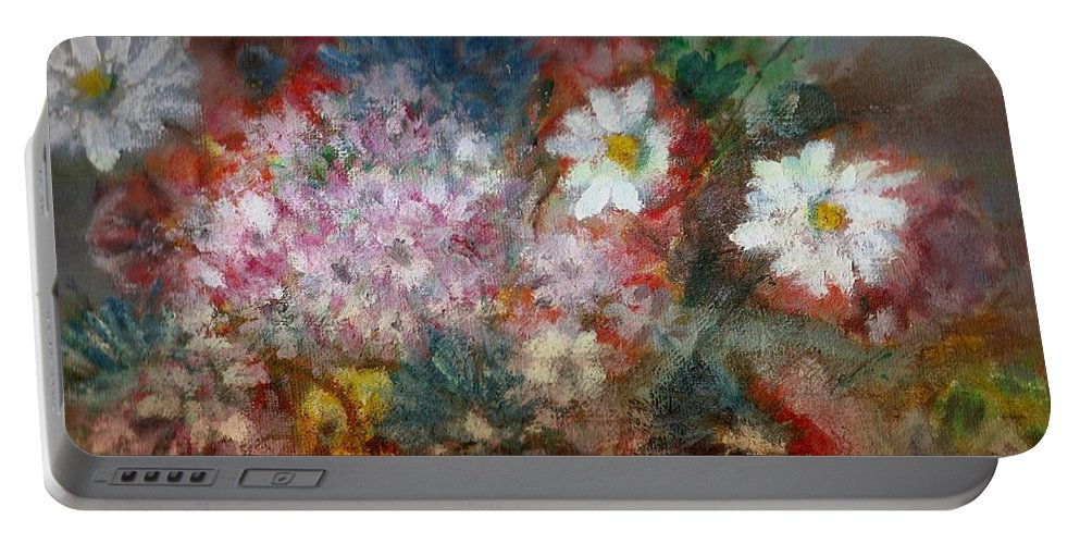 Poppies Portable Battery Charger featuring the painting Summer Night by Pepita Selles