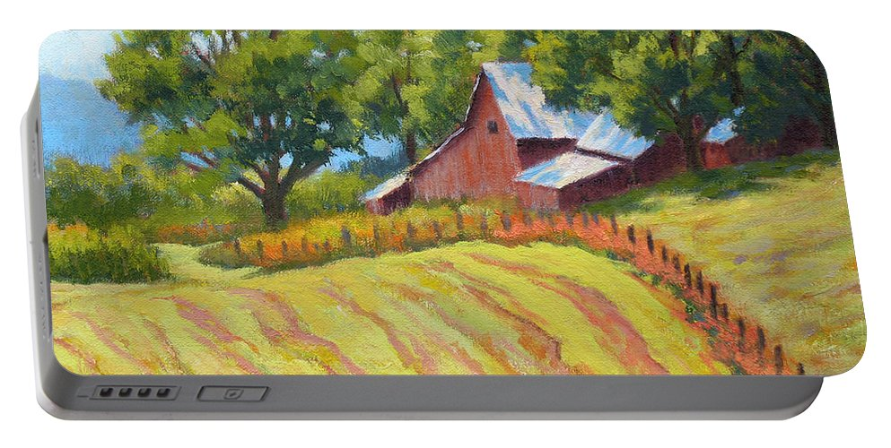 Landscape Portable Battery Charger featuring the painting Summer Patterns by Keith Burgess