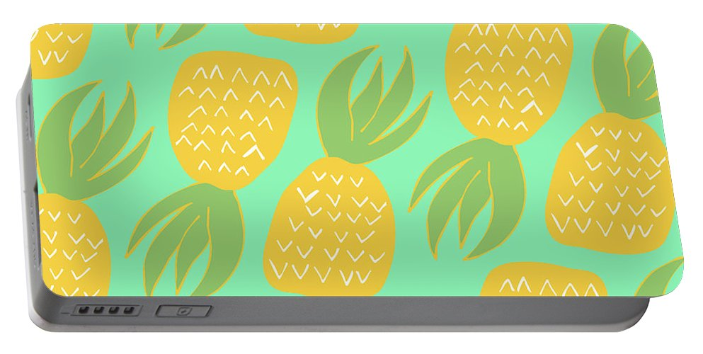 Summer Pineapples Portable Battery Charger featuring the digital art Summer Pineapples by Allyson Johnson