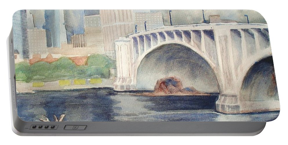 Scenery Portable Battery Charger featuring the painting Summer Rain by Marilyn Jacobson