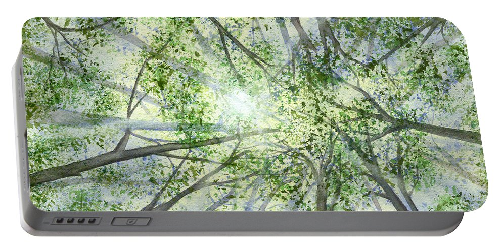 Trees Portable Battery Charger featuring the painting Summer Rays by Lynn Quinn