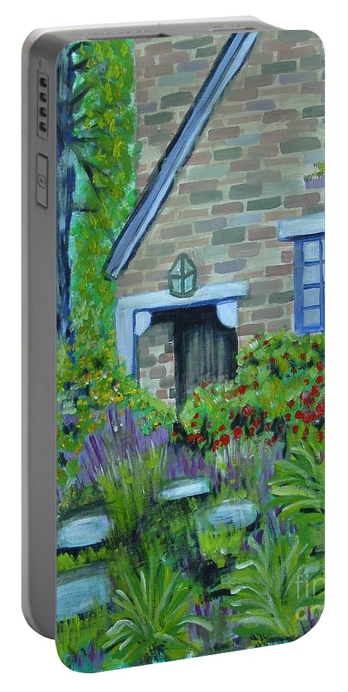 Cottage Portable Battery Charger featuring the painting Summer Retreat by Laurie Morgan